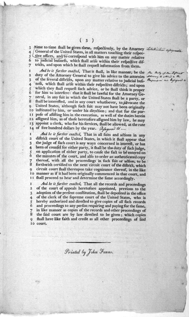 """Amendments to the bill, entitled. """"An act for regulating processes in the Courts of the United States, and providing compensations for the officers of the said courts and for jurors and witnesses. [Colophon:] Philadelphia Printed by John Fenno."""