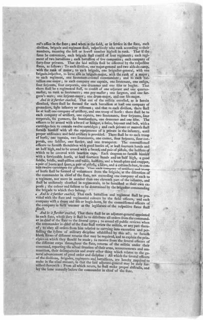 ... An act more effectually to provide for the national defence by establishing an uniform militia through the United States. [Philadelphia: Printed by Francis Childs and John Swaine. 1792.].
