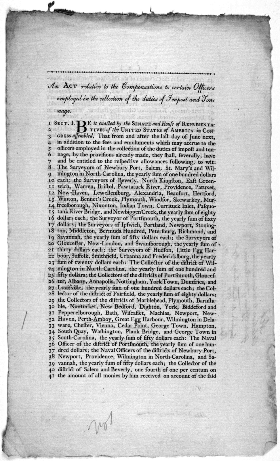 An act relative to the compensations to certain officers employed in the collection of the duties of impost and tonnage ... 1792, May the 2d- Passed the House of representatives. [Philadelphia] Printed by John Fenno [1792].
