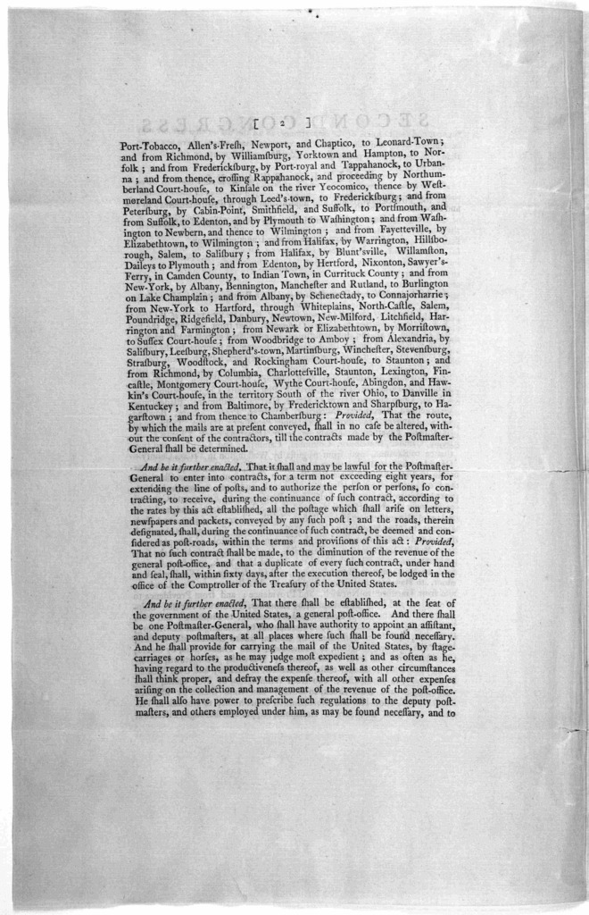 ... An act to establish the Post-office and Post-roads within the United States. Philadelphia: Printed by Francis Childs and John Swaine, 1792.].