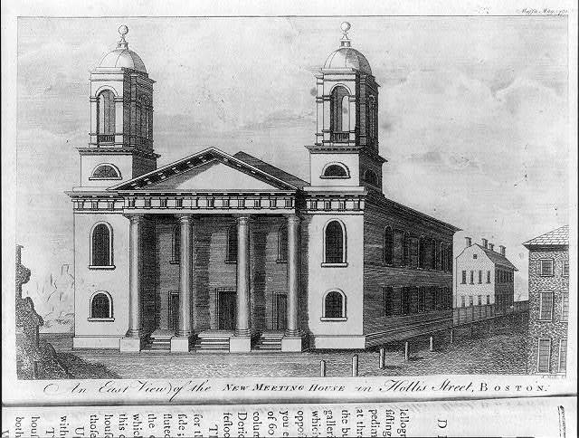 An east view of the new meeting house in Hollis Street, Boston / S. Hill sc.