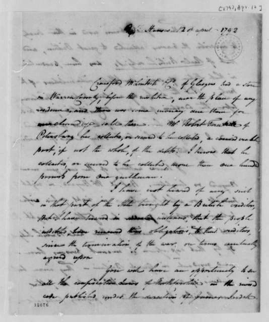 Benjamin Hawkins to Thomas Jefferson, April 12, 1792