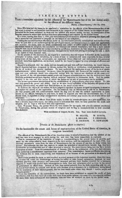 Circular letter. From a committee appointed by the officers of the Massachusetts line of the late federal army to the officers of the different states. Boston, (Massachusetts.) Feb. 23, 1792. [Notifying them that they had selected General Willia