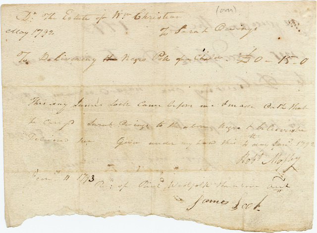 Claim for payment made by midwife Sarah Owenes against the estate of William Christian