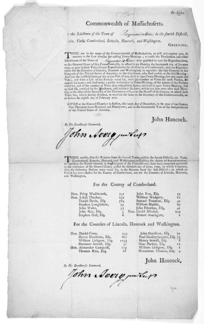 Commonwealth of Massachusetts, To the selectmen of the town of in the fourth district, viz. York, Cumberland, Lincoln, Hancock, and Washington Greeting. These are in the name of the Commonwealth of Massachusetts to will and require you, in manne