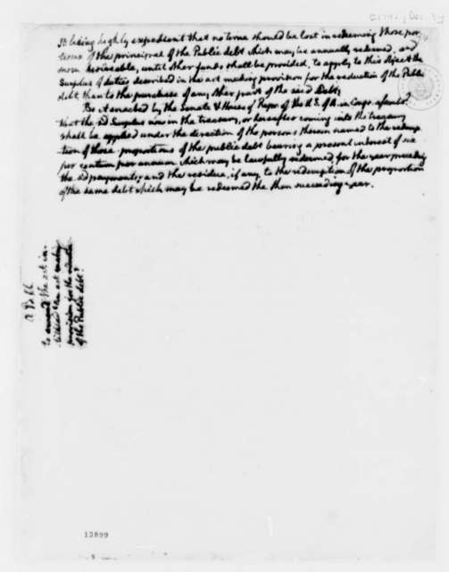Congress, December 3, 1792, Public Debt Reduction
