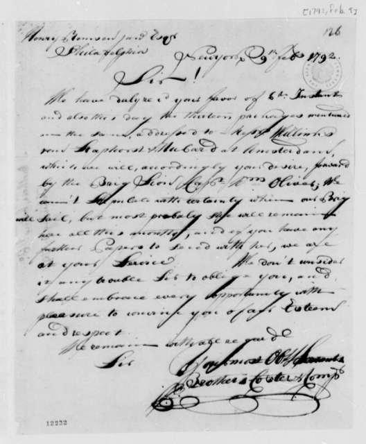 Coster Freres & Company to Henry Remsen, Jr., February 9, 1792