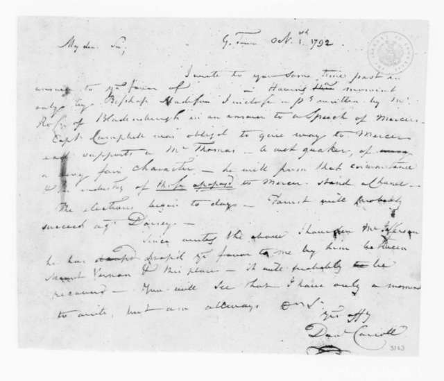 Daniel Carroll to James Madison, October 1, 1792.
