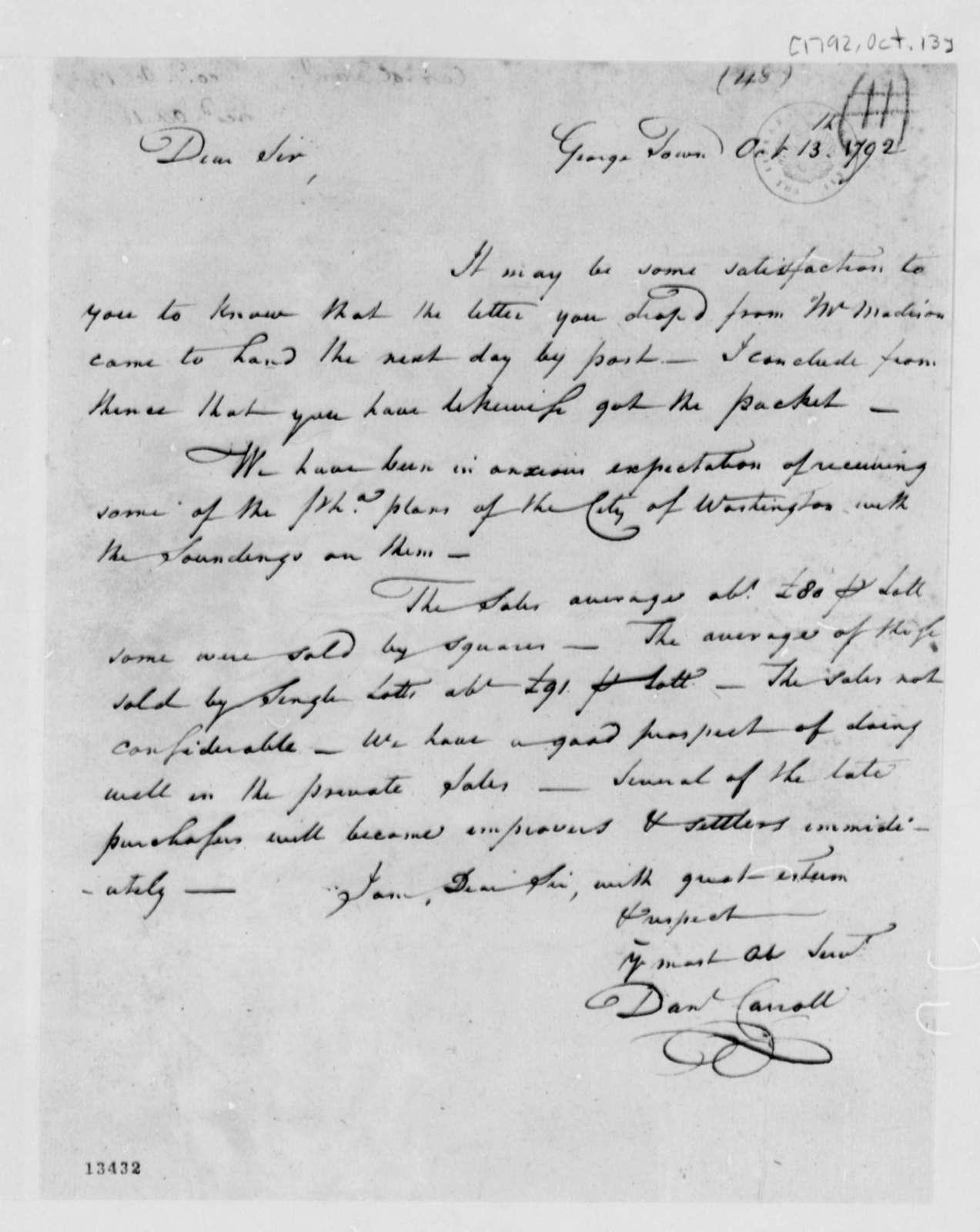 Daniel Carroll to Thomas Jefferson, October 13, 1792