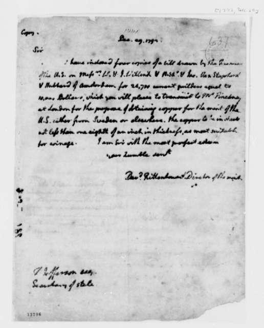 David Rittenhouse to Thomas Jefferson, December 29, 1792