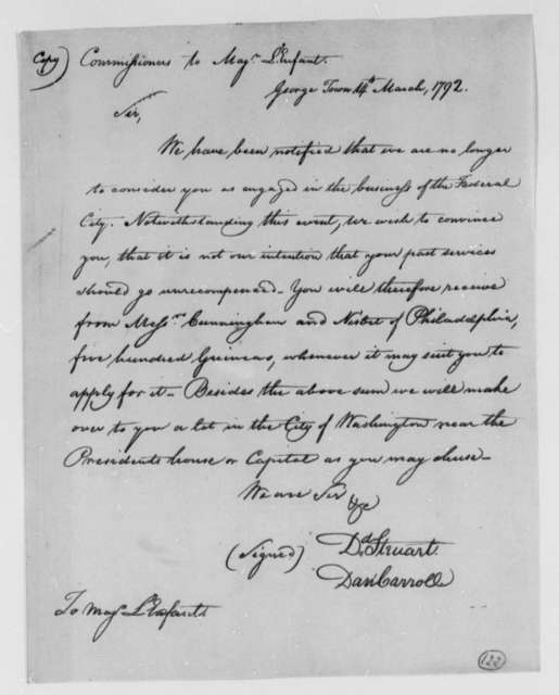 David Stuart and Daniel Carroll, Commissioners to Thomas Jefferson, March 14, 1792, two same date