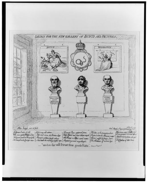 "Design for the new gallery of busts and pictures -""and so far will I trust thee gentle Kate"" -Henry 4th, part 1st / / Peter,burgh, inv. et fecit."