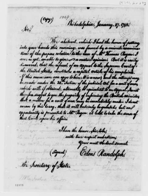 Edmund Randolph to Thomas Jefferson, January 27, 1792