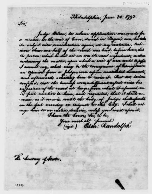 Edmund Randolph to Thomas Jefferson, June 30, 1792