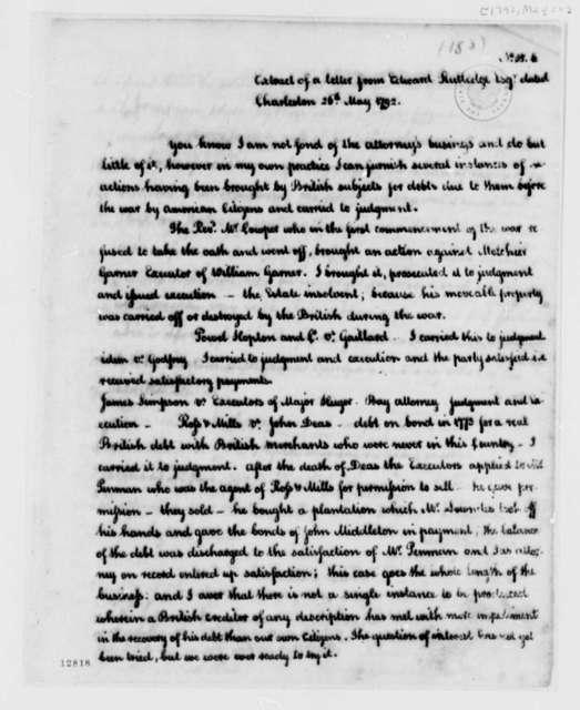 Edward Rutledge to Thomas Jefferson, May 26, 1792