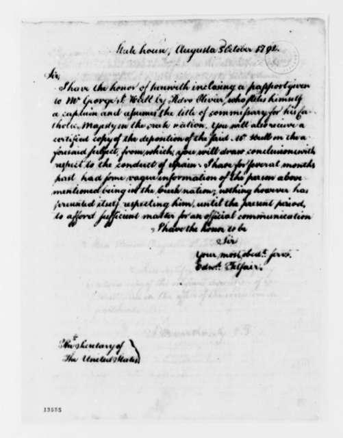 Edward Telfair to Thomas Jefferson, October 3, 1792