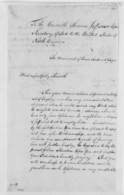 Ernst Frederick Gayer Thomas Jefferson, May 3, 1792