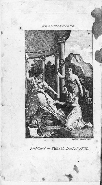 """[Frontispiece and title page from """"The Lady's magazine, and repository of entertaining knowledge"""" showing the """"Genius of the Ladies magazine"""" presenting the figure of Liberty with a copy of Mary Wollstoncraft's """"Vindication of the rights of women""""] / Thackara & Vallance, sculpt."""