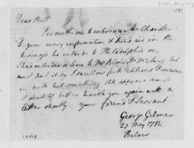 George Gilmer to Thomas Bell, May 27, 1792