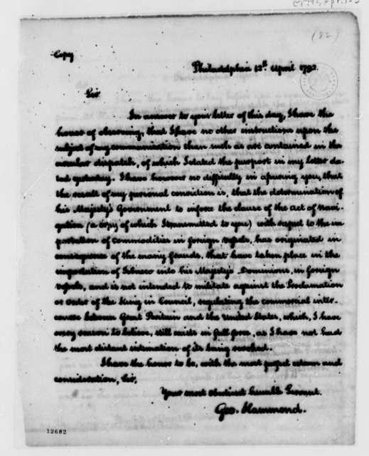 George Hammond to Thomas Jefferson, April 12, 1792
