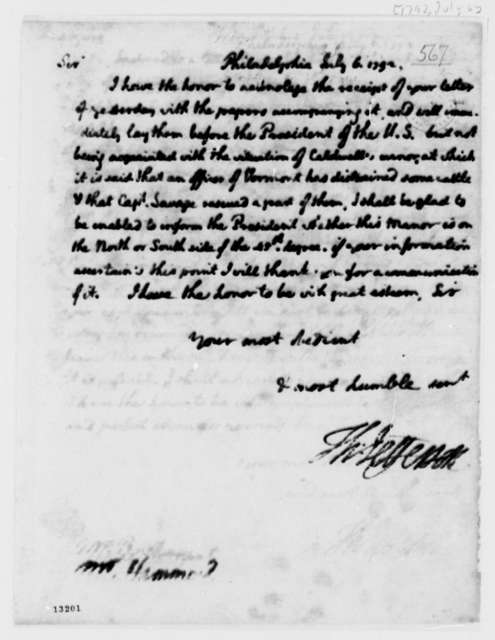 George Hammond to Thomas Jefferson, July 6, 1792