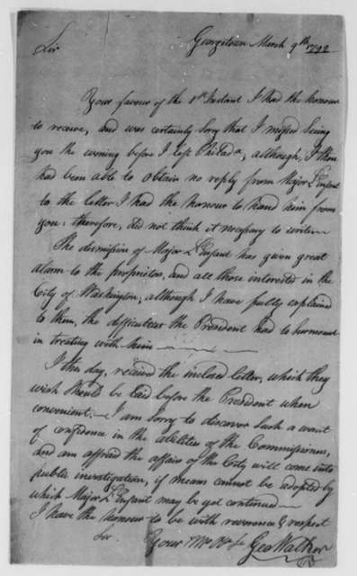 George Walker to Thomas Jefferson, March 9, 1792