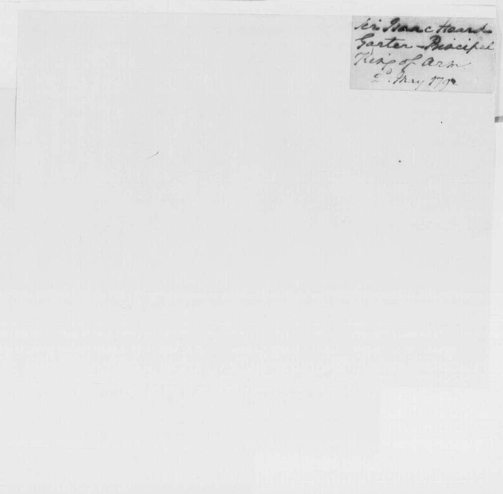 George Washington Papers, Series 4, General Correspondence: George Washington to Isaac Heard, May 2, 1792
