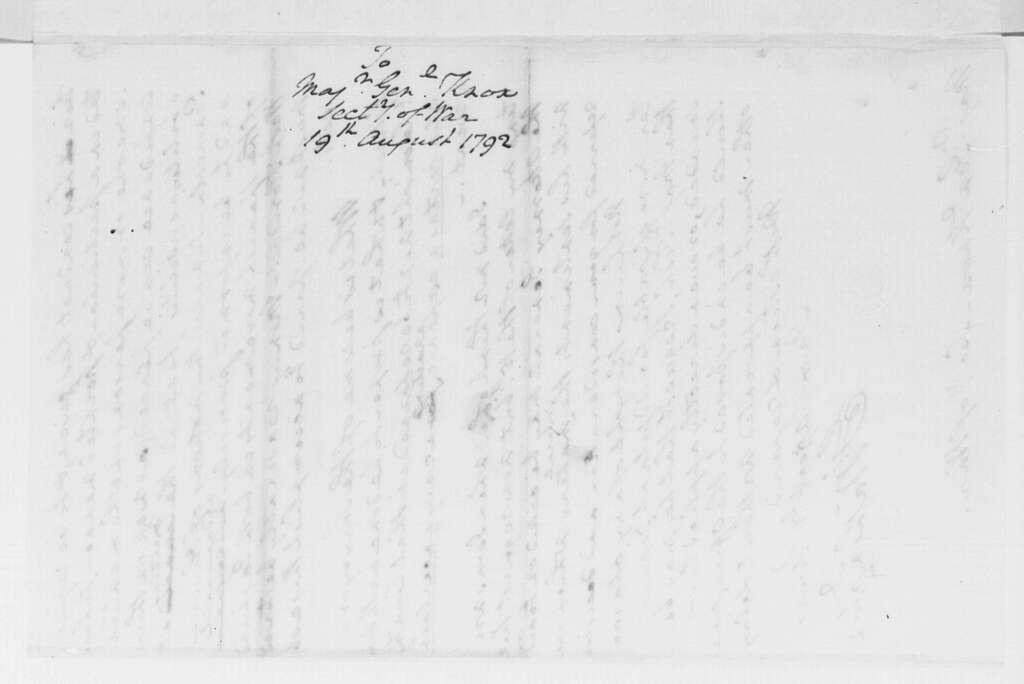 George Washington Papers, Series 4, General Correspondence: George Washington to Henry Knox, August 19, 1792