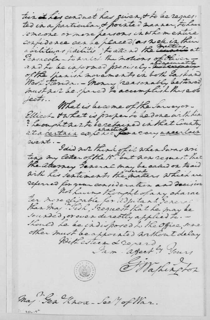 George Washington Papers, Series 4, General Correspondence: George Washington to Henry Knox, August 19, 1792