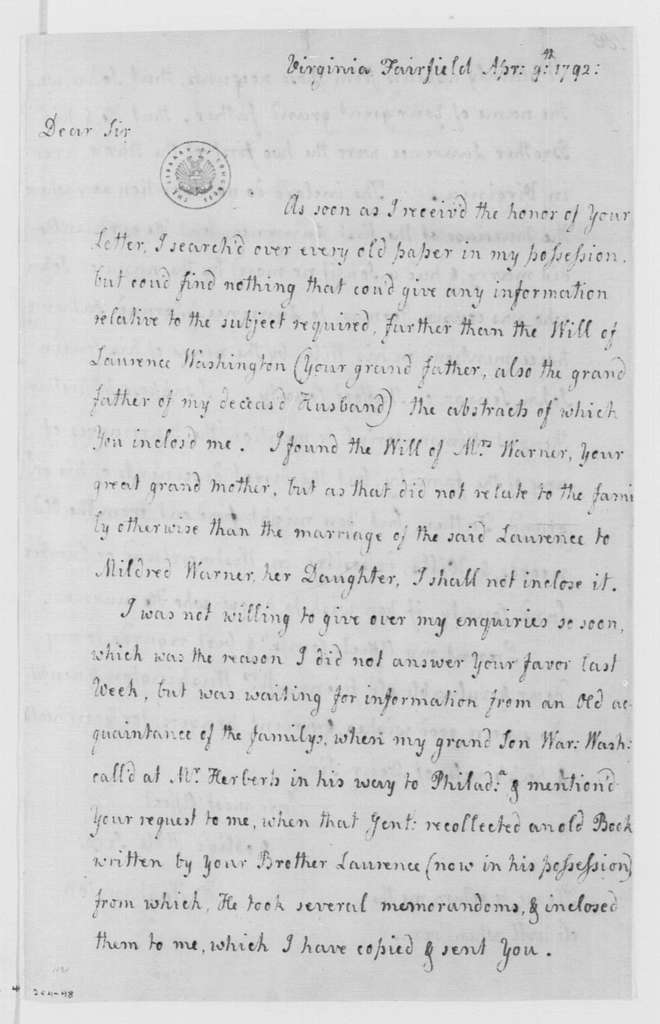 George Washington Papers, Series 4, General Correspondence: Hannah Washington to George Washington, April 9, 1792