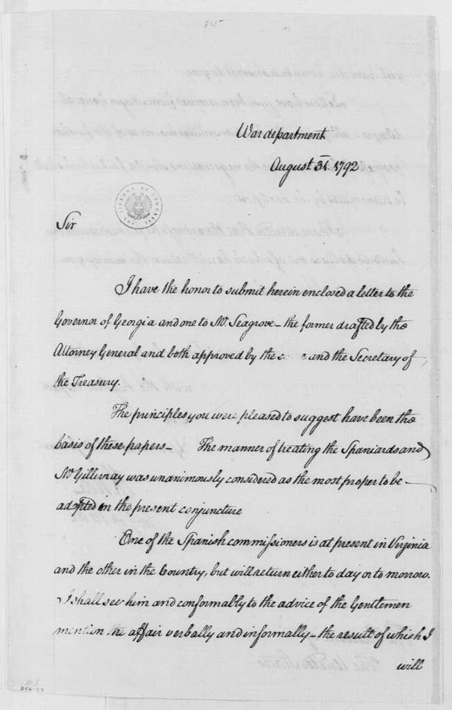 George Washington Papers, Series 4, General Correspondence: Henry Knox to George Washington, August 31, 1792