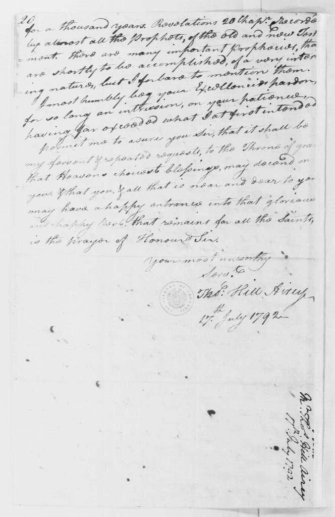 George Washington Papers, Series 4, General Correspondence: Thomas Hill Airey to George Washington, July 17, 1792