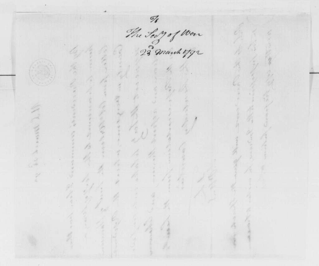 George Washington Papers, Series 4, General Correspondence: Tobias Lear to Henry Knox, March 23, 1792