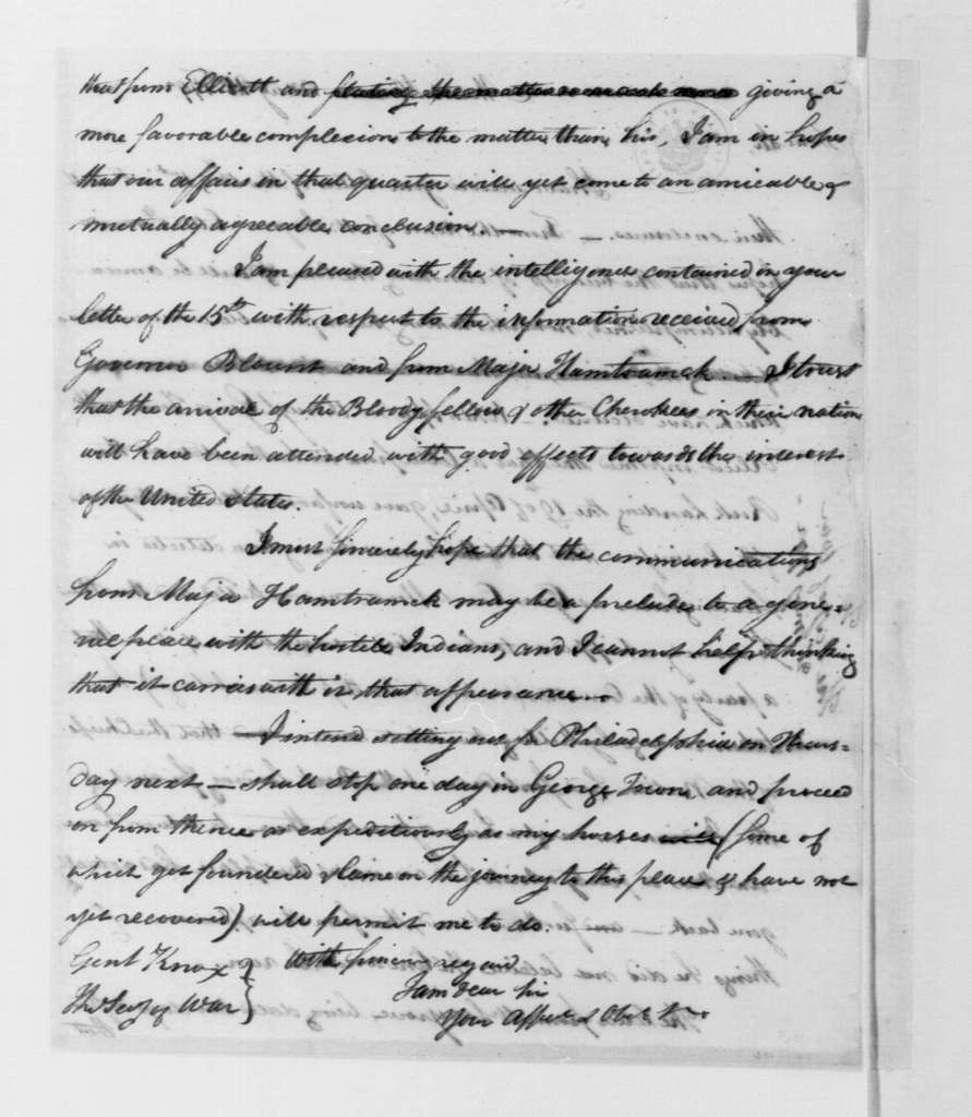 George Washington Papers, Series 4, General Correspondence: Tobias Lear to Henry Knox, May 21, 1792