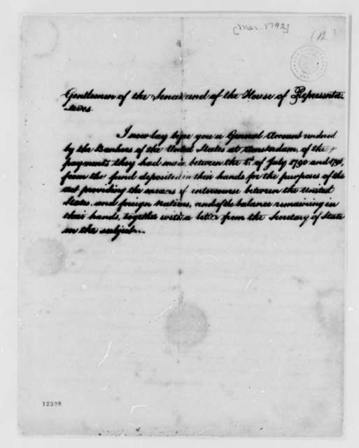 George Washington to Congress, March 1792, U. S. Financial Account