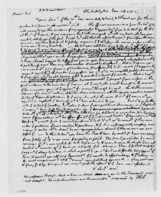George Washington to Gouverneur Morris, January 28, 1792, in Thomas Jefferson's Hand