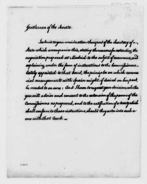 George Washington to Senate, March 7, 1792, Transmittal