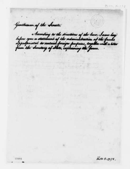 George Washington to Senate, November 5, 1792