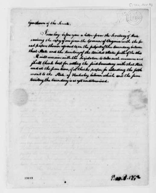George Washington to Senate, November 8, 1792