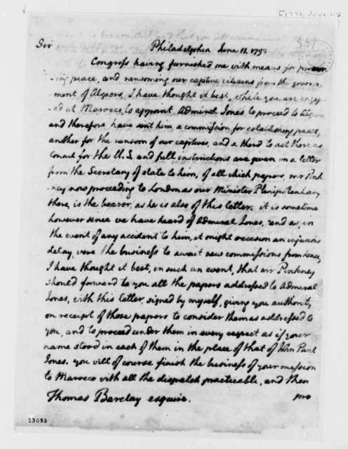 George Washington to Thomas Barclay, June 11, 1792, with Copy