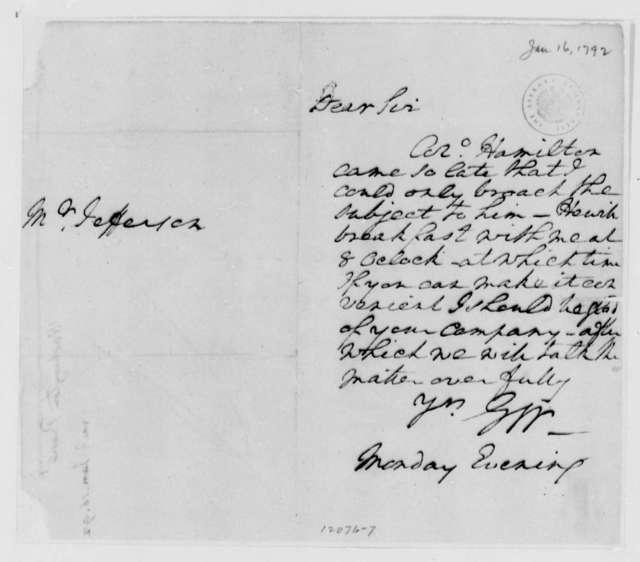George Washington to Thomas Jefferson, January 16, 1792