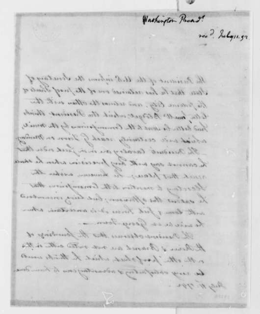 George Washington to Thomas Jefferson, July 11, 1792, in Hand of Lear