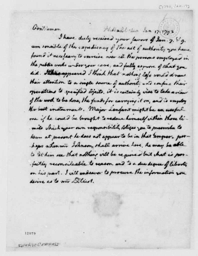 George Washington to Washington, D.C., Commissioners, January 17, 1792, in Thomas Jefferson's Hand