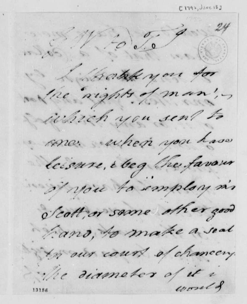 George Wythe to Thomas Jefferson, June 15, 1792