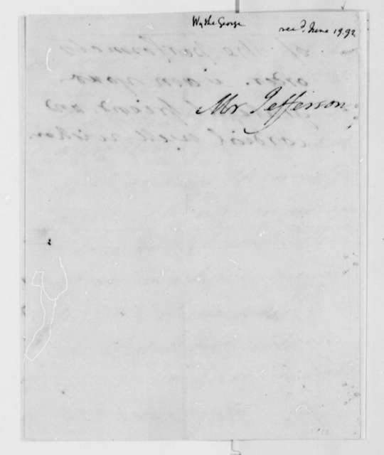 George Wythe to Thomas Jefferson, June 15, 1792