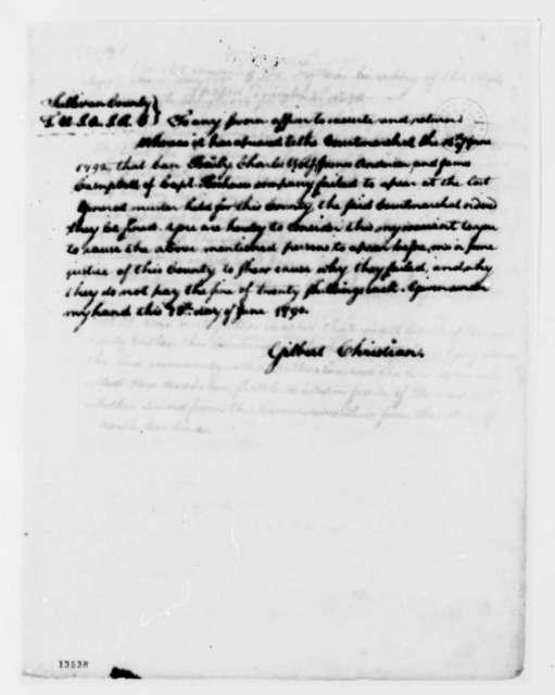 Gilbert Christian Charles Bailey, et al, June 18, 1792