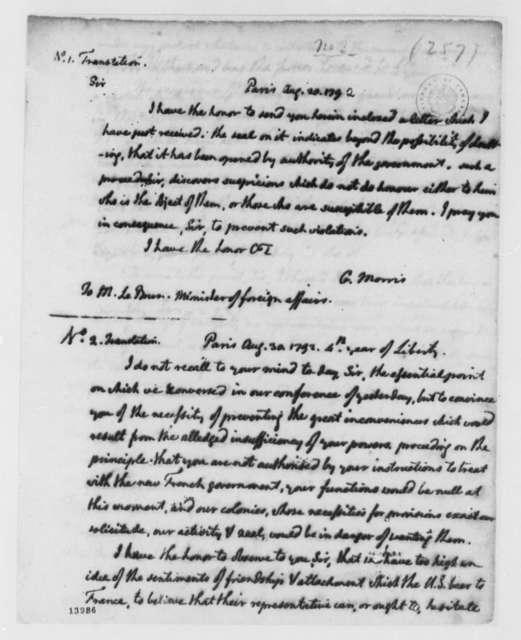 Gouverneur Morris to Pierre Henri Helene Marie Le Brun-Tondu, August 20, 1792