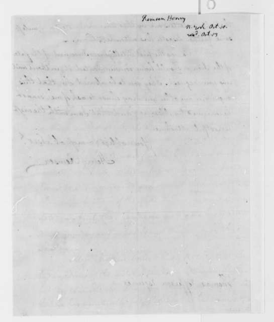 Henry Remsen, Jr. to Thomas Jefferson, October 10, 1792, with Copy