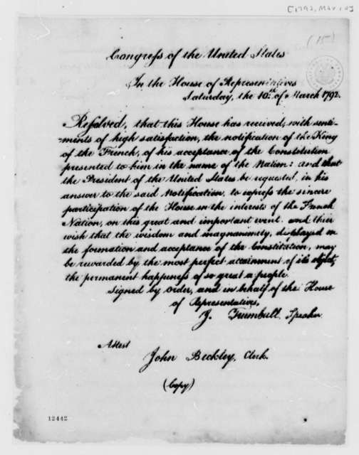 House of Representatives, March 10, 1792, Resolution, French Acceptance of U.S. Constitution