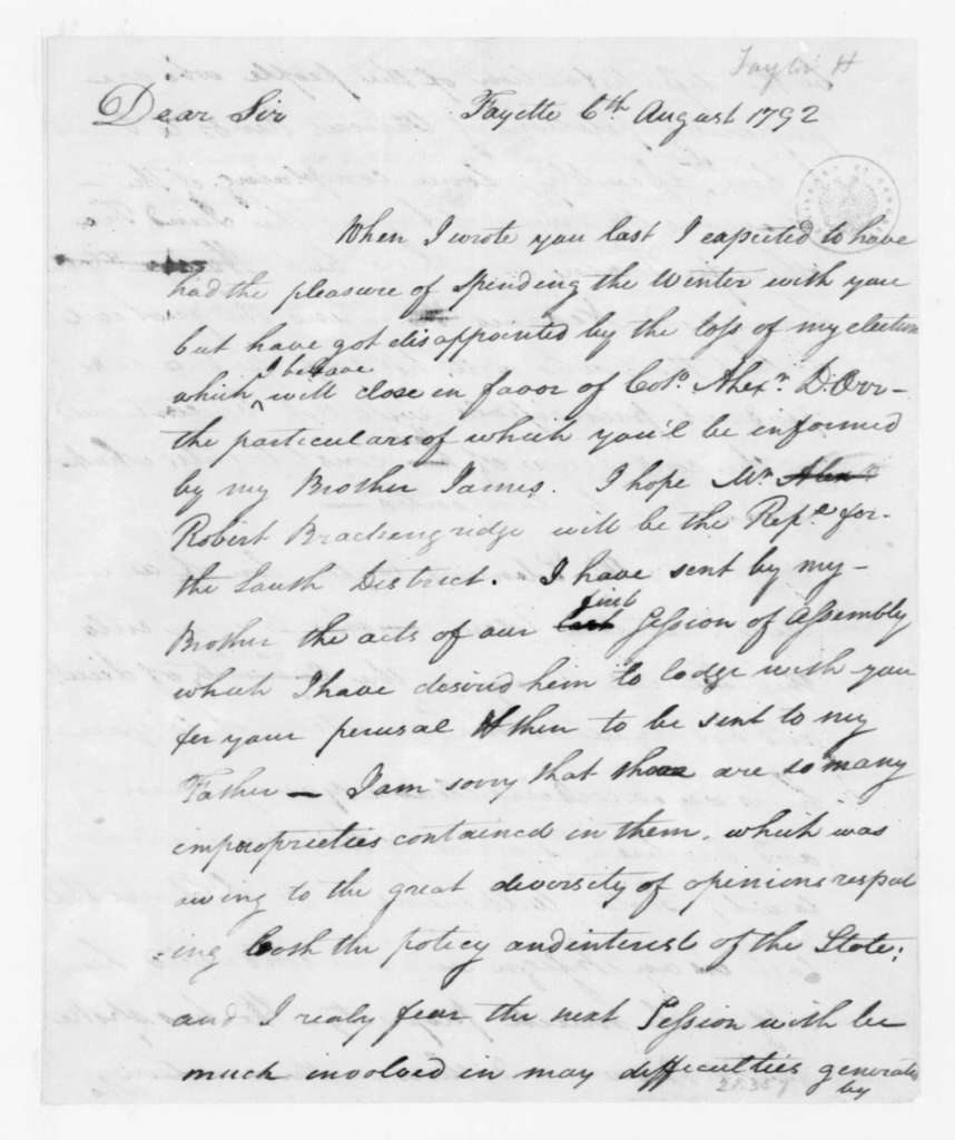 Hubbard Taylor to James Madison, August 6, 1792.